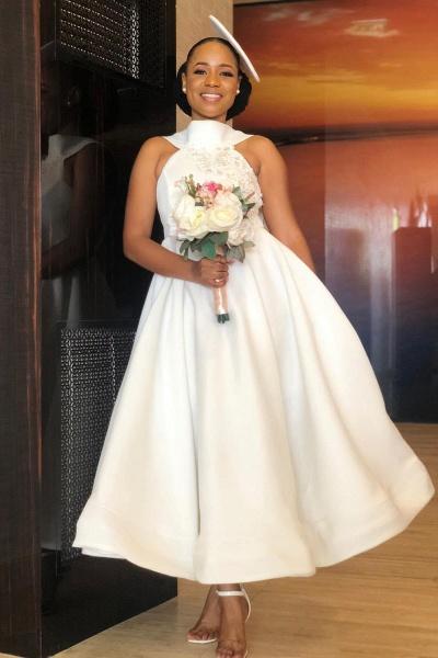 Cute Applqiues Satin A-line Bridesmaid Dress_4