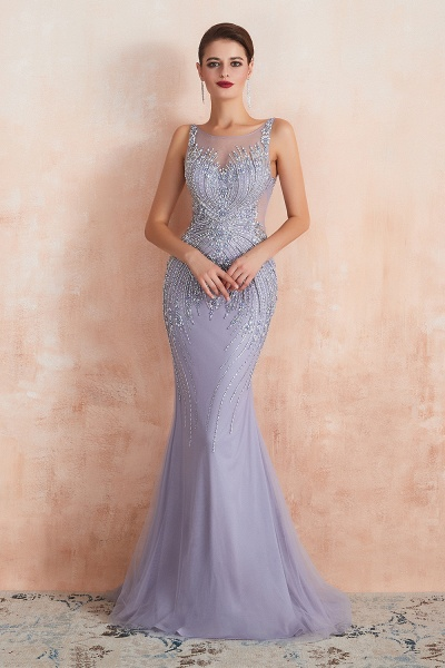 Graceful Jewel Tulle Mermaid Prom Dress_9