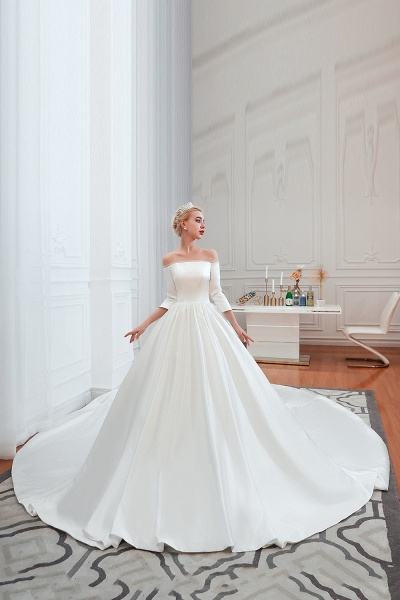 Off Shoulder Lace-up Satin A-line Wedding Dress_3