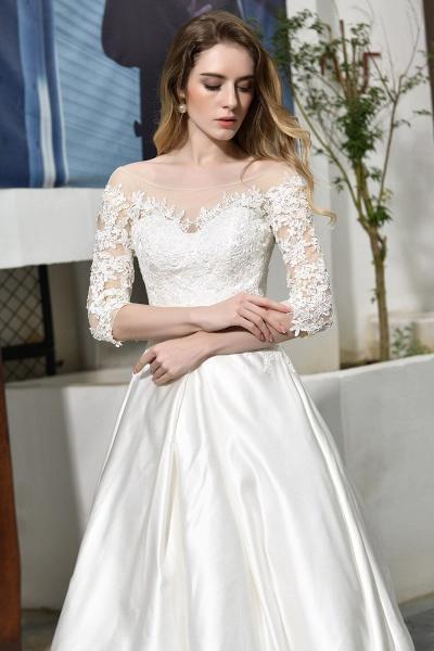 Lace Half Sleeves V Neck Sheer Tulle Wedding Dress_12
