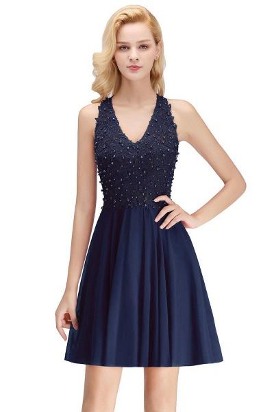 A-line V-neck Sleeveless Appliques Chiffon Short Homecoming Dresses_3