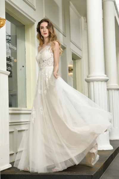 One Shoulder Lace Tulle Backless Wedding Dresses_10