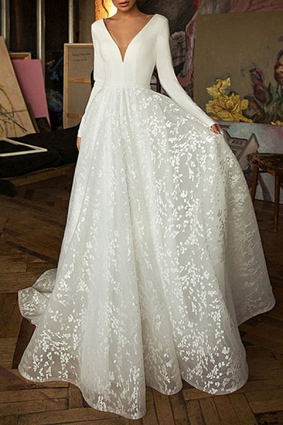 Elegant Long Sleeve V-neck Satin Wedding Dress