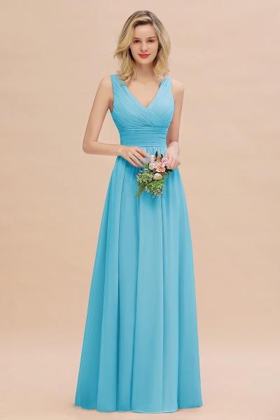 BM0752 Elegant A-line V-Neck Ruffles Long Bridesmaid Dress_24
