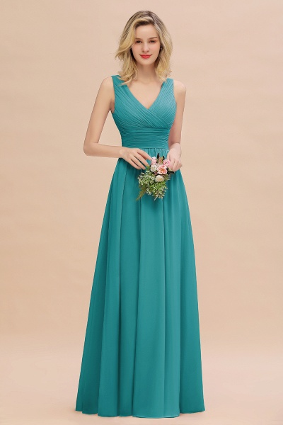 BM0752 Elegant A-line V-Neck Ruffles Long Bridesmaid Dress_32
