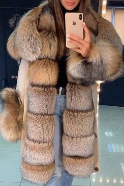 Winter Fur-trimmed Long Faux Fur Coat_5