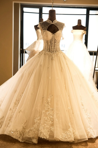 Vintage High Neck Lace-up Tulle Wedding Dress_2