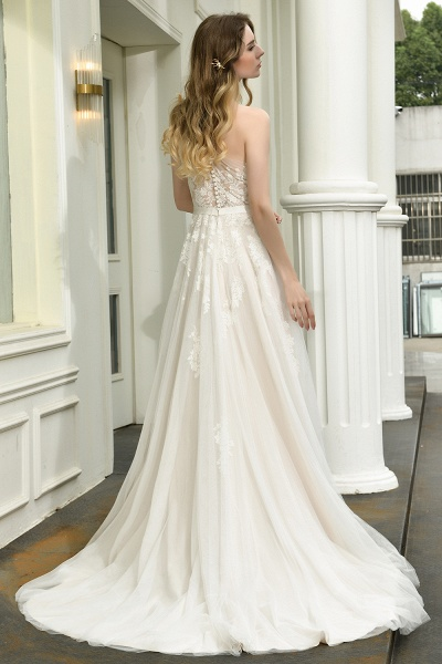 One Shoulder Lace Tulle Backless Wedding Dresses_12