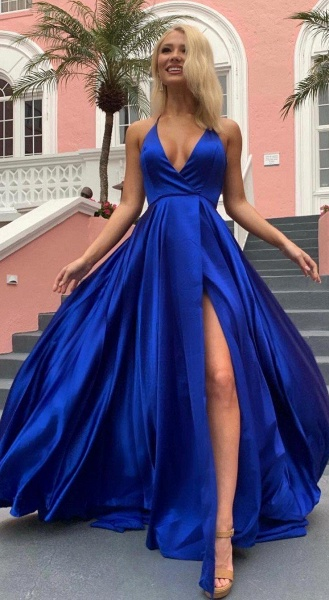 Beautiful Spaghetti Straps Stretch Satin A-line Prom Dress_2