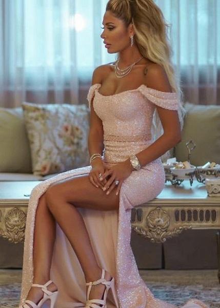 Elegant Off-the-shoulder Sequined Column Evening Dress_3