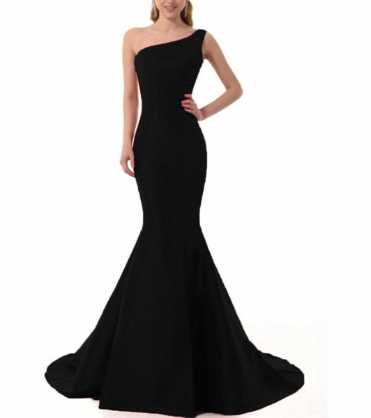 Elegant One Shoulder Satin Mermaid Evening Dress_4