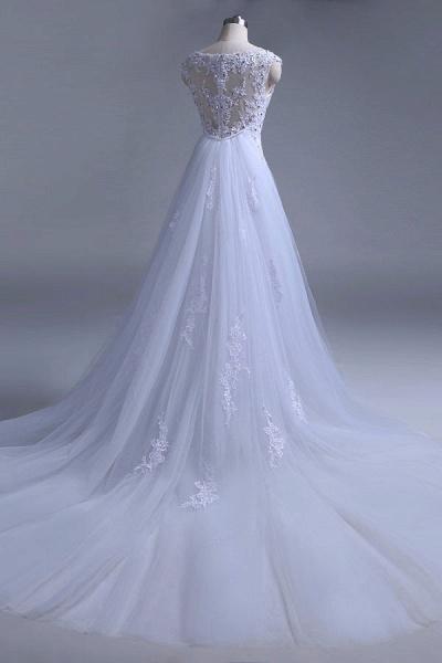 Beading Tulle Mermaid Floor Length Wedding Dress_7