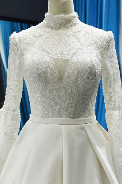 Elegant High Neck Long Sleeve Satin Wedding Dresses_5
