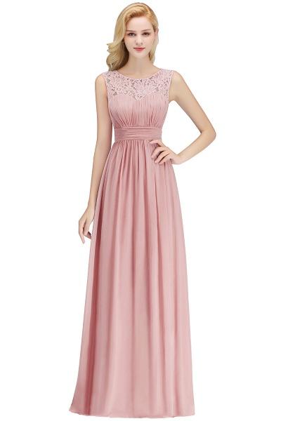 A-line Sleevless Long Lace Appliques Bridesmaid Dress_1