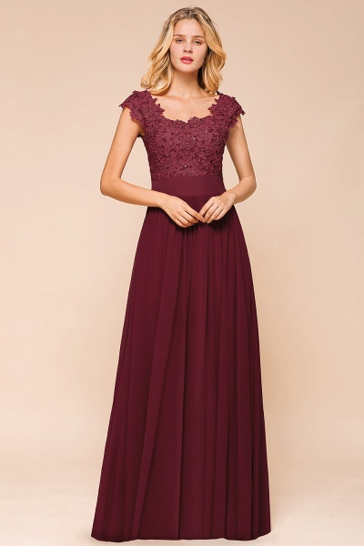 Burgundy Cap sleeves Lace Evening Gowns with Appliques_7
