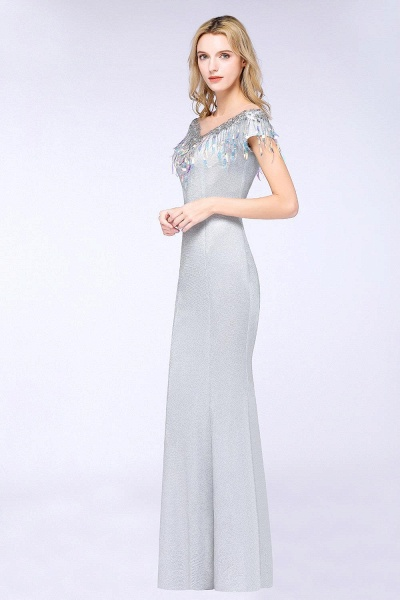 Elegant Jewel Short Sleeves Sequins Evening Dress with Tassels_2