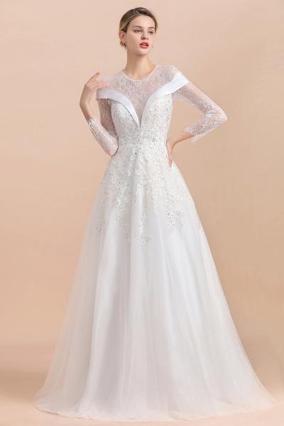 Elegant Floor Length Lace Long Sleeve Wedding Dress_6