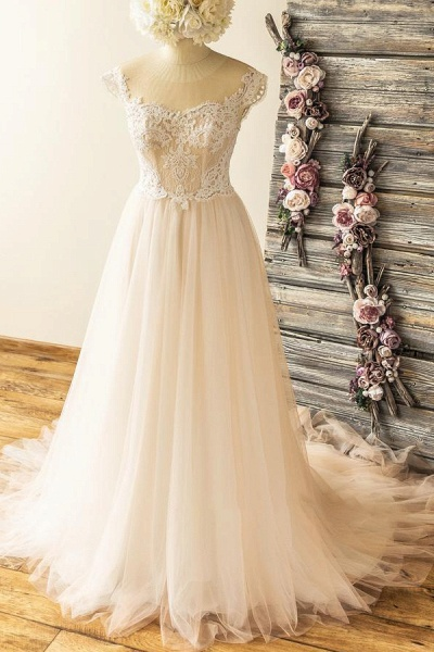 Amazing Lace Tulle A-line Court Train Wedding Dress_1