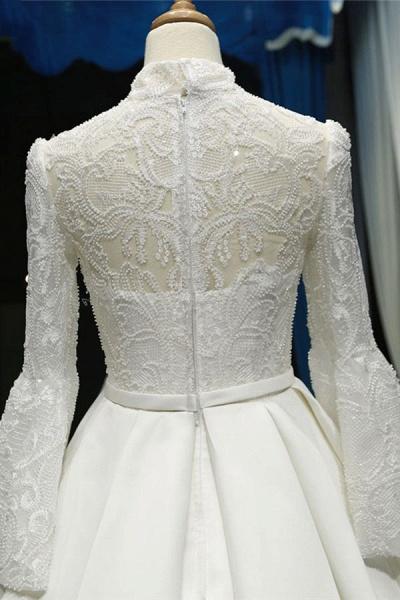 Elegant High Neck Long Sleeve Satin Wedding Dresses_6
