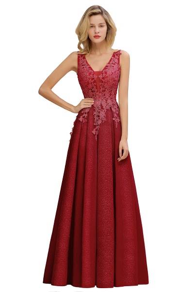 Attractive V-neck Lace A-line Evening Dress_2