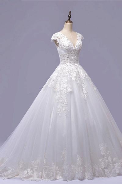 V-Neck Cap Sleeve Lace-up Tulle Wedding Dress_4