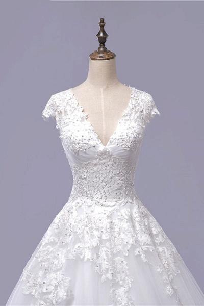 V-Neck Cap Sleeve Lace-up Tulle Wedding Dress_5