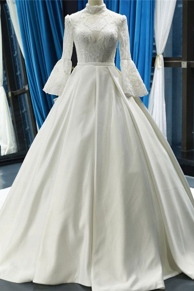 Elegant High Neck Long Sleeve Satin Wedding Dresses