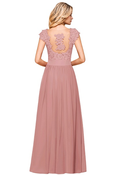 Burgundy Cap sleeves Lace Evening Gowns with Appliques_19
