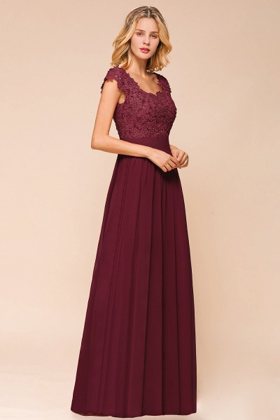 Burgundy Cap sleeves Lace Evening Gowns with Appliques_13