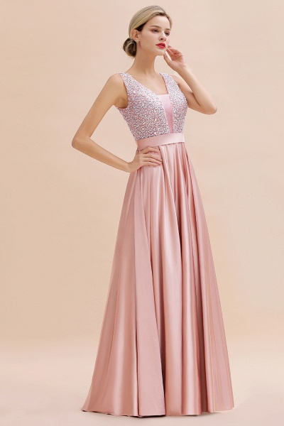 Awesome Open Back Beading Satin A-line Prom Dress_8