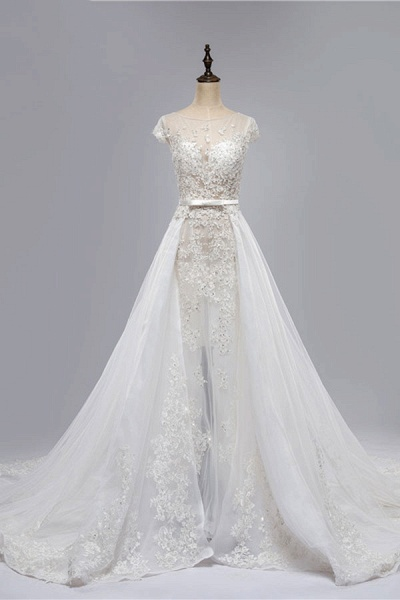 Cap Sleeve Appliques Tulle A-Line Wedding Dress