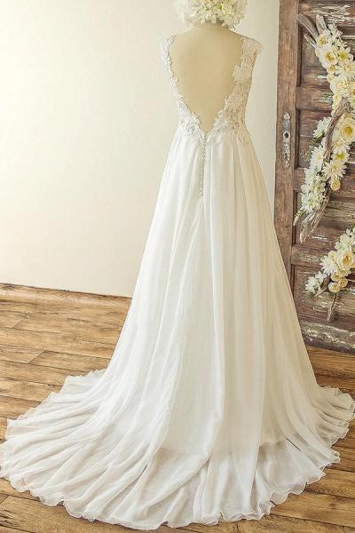 Open Back Appliques Chiffon A-line Wedding Dress_3