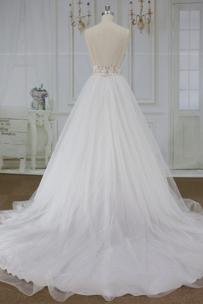 Applique Spaghetti Strap A-line Tulle Wedding Dress_3