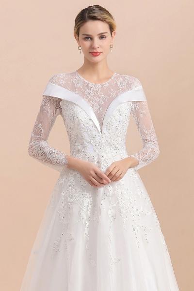Elegant Floor Length Lace Long Sleeve Wedding Dress_9