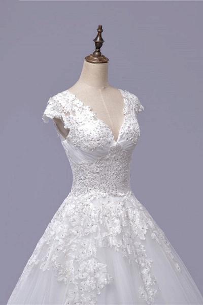 V-Neck Cap Sleeve Lace-up Tulle Wedding Dress_6