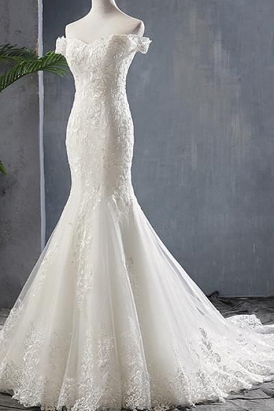 Applique Off Shoulder Lace-up Mermaid Wedding Dress_4