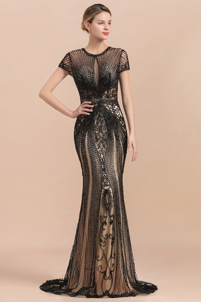 Luxury Black Beaded Mermaid Prom Dresses_5