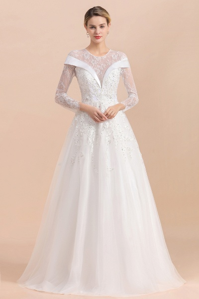Elegant Floor Length Lace Long Sleeve Wedding Dress_1