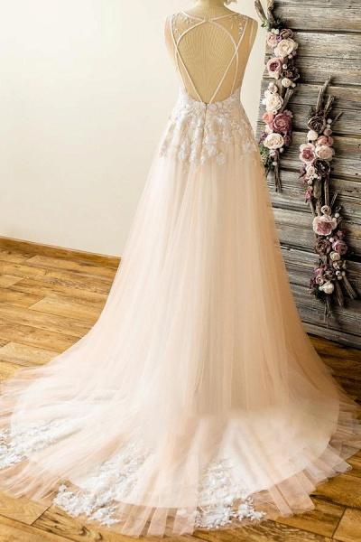 Graceful V-neck Appliques Lace Tulle Wedding Dress_3