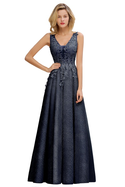 Attractive V-neck Lace A-line Evening Dress_5