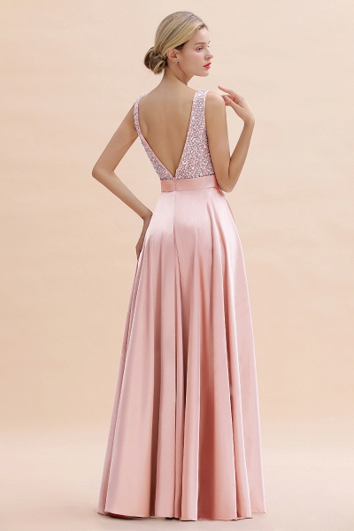 Awesome Open Back Beading Satin A-line Prom Dress_7