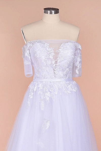 A-line Off-the-shoulder Appliques Wedding Dress_5
