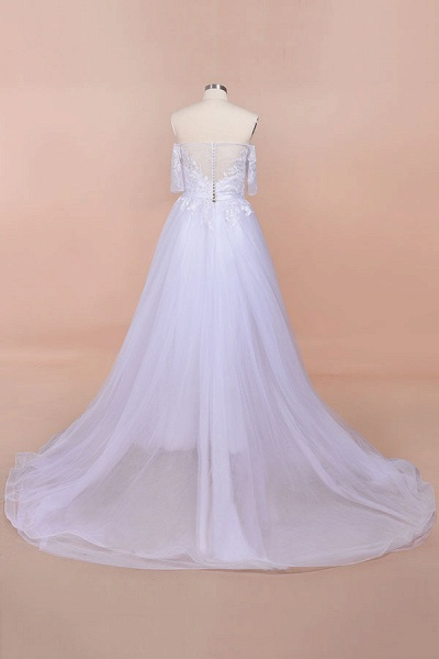 A-line Off-the-shoulder Appliques Wedding Dress_3