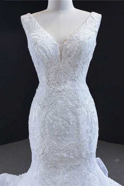 Graceful Lace-up Appliqes Mermaid Wedding Dress_6
