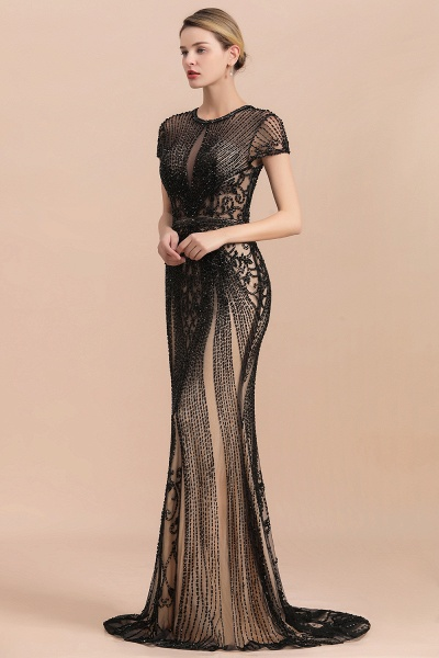 Luxury Black Beaded Mermaid Prom Dresses_3
