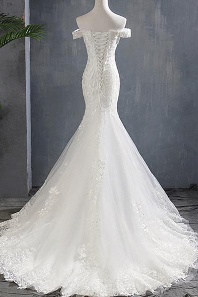 Applique Off Shoulder Lace-up Mermaid Wedding Dress_3