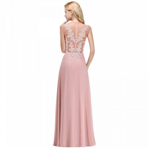 Lace Appliques Beads Cap Sleeve A-line Evening Prom Dress_9