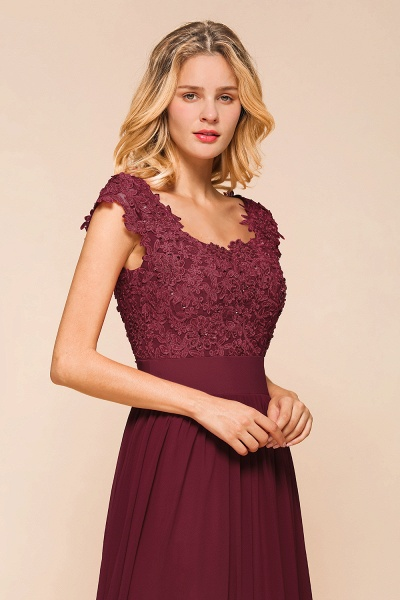 Burgundy Cap sleeves Lace Evening Gowns with Appliques_9