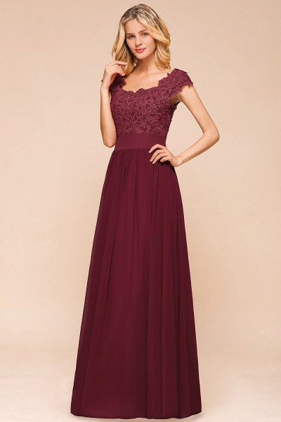 Burgundy Cap sleeves Lace Evening Gowns with Appliques_8