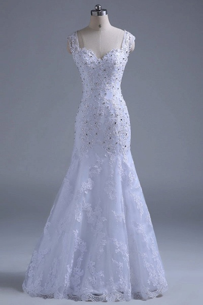 Beading Tulle Mermaid Floor Length Wedding Dress